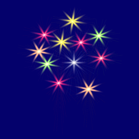 Festive, multi-colored fireworks on a blue background vector illustration.