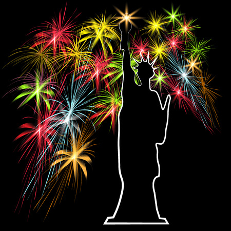 American Independence Day, the Statue of Liberty on the background of fireworks, US symbols, vector illustration