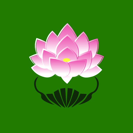 buddha lotus: Pink stylized image of a lotus flower on a green background. The symbol of commitment to the Buddha in Japan. Vector illustration.
