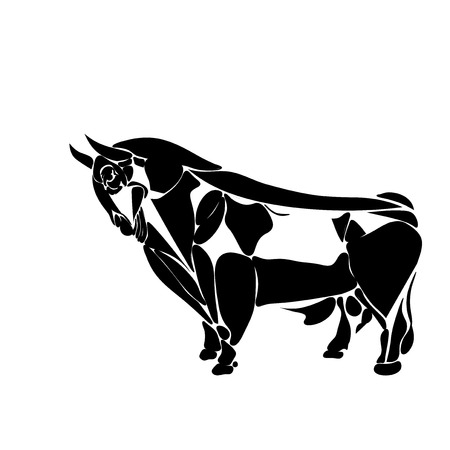 Stylized black bull contour consisting of fragments isolated on a white background, tattoo, vector illustration Illustration