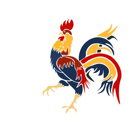 Vector Image multicolored coming rooster on a white background. Vector illusration
