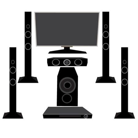 plasma tv: Set HI-FI Household appliances: TV and audio equipment 5.1 on an isolated white background, vector illustration Illustration