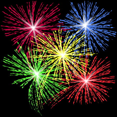 Colorful fireworks in honor of Independence Day on a black background vector illustration. Illustration