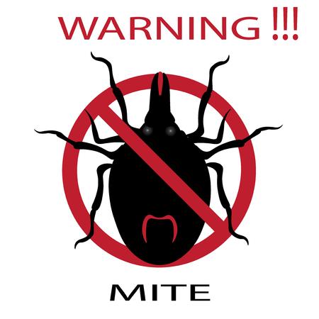 Symbol parasite warning sign. Mite spider. Mite red. Mite allergy. Epidemic. Mite parasites. Vector illustration Vettoriali