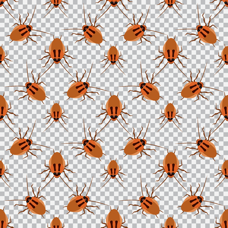 disgust: Seamless pattern cockroach on a checkered background. Cockroach, beetle, vector illustration Illustration