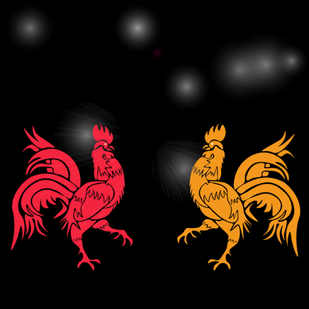 cocky: Two cocky rooster, red and yellow on a background of cock constellation . Chinese Horoscope - Rooster. Chinese New Year. Vector illustration Illustration