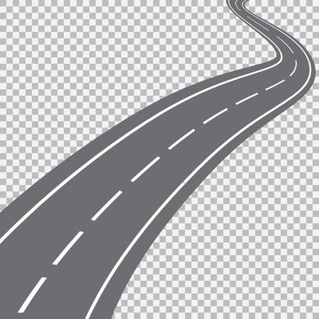 Strada curva con macchie bianche. Illustrazione vettoriale