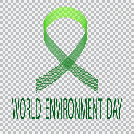 green environment: Green ribbon on a plaid background. Environment Day. Vector illustration