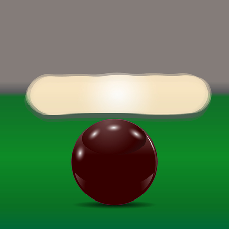 cue ball: Dark brown ball on a billiard table. The cue ball in front of broken pyramid. Vector illustration