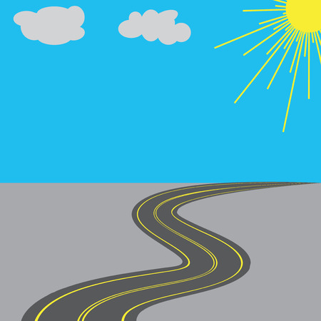 Road with yellow markings in the long term. Vector illustration