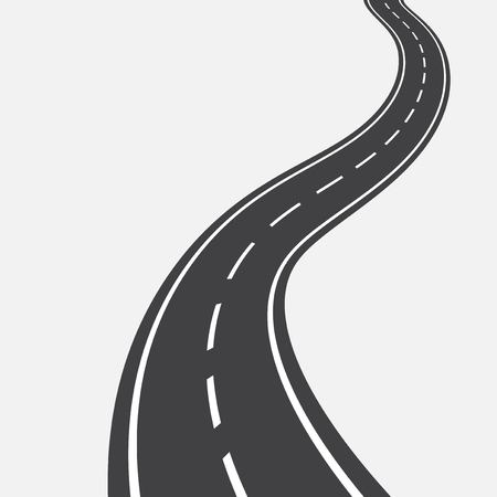 curved road: Curved road with white markings. Vector illustration