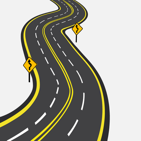 curved road: Curved road with yellow markings. Vector illustration Illustration
