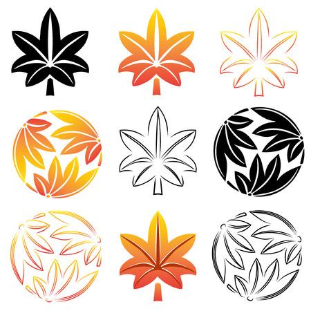 symbolism: The stylized set maple leaves, Japanese symbolism. Vector illustration. Illustration