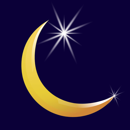 Crescent moon and star vector icon. Vector illustration