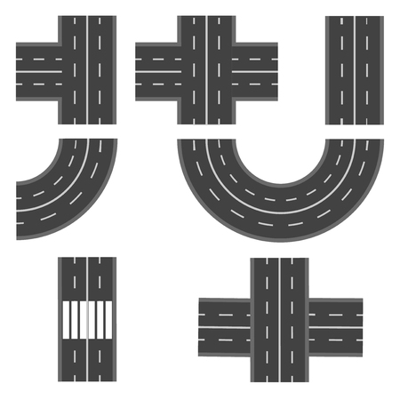 thoroughfare: Set of different road, highway sections. Vector illustration