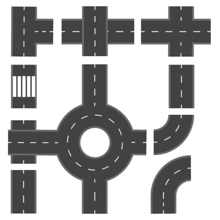 thoroughfare: Set of different road sections. Vector illustration