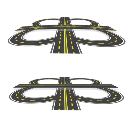 Road interchange. Highway with yellow markings in the perspective. Vector illustration: