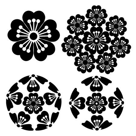 symbolism: The stylized Sakura flower , Japanese symbolism vector illustration. Illustration