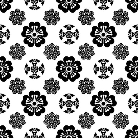 The stylized seamless Sakura flower , Japanese symbolism vector illustration. Vector Illustration