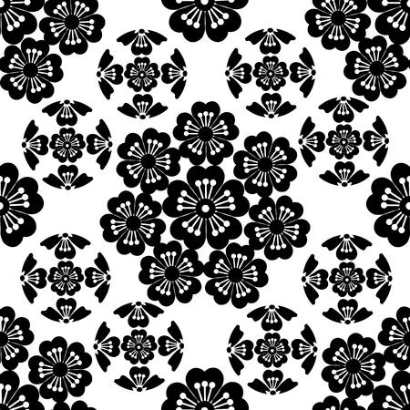 symbolism: The stylized black seamless Sakura flower , Japanese symbolism vector illustration.