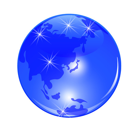 lejano oriente: Blue planet earth. View from Japan, China and the Far East. . Stylized glossy ball. Vector illustration