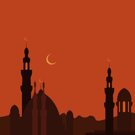 byzantine: East Town and mosque in sunset. Ramadan. Vector image Illustration