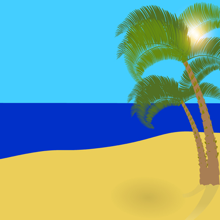 shade: Two lonely palm trees on an exotic island, a wonderful holiday in the shade of palm trees. Vector illustration
