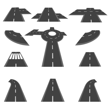 Set of sections of road and the roundabout intersections in different perspective. Vector illustration
