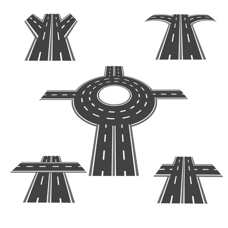 Set of different sections of the road with roundabout intersections, and a variety of different angles in the long term. Vector illustration