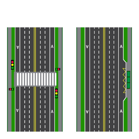 thoroughfare: A set of road sections. Stop. Transition. Bicycle paths, sidewalks and intersections. View from above. Vector illustration