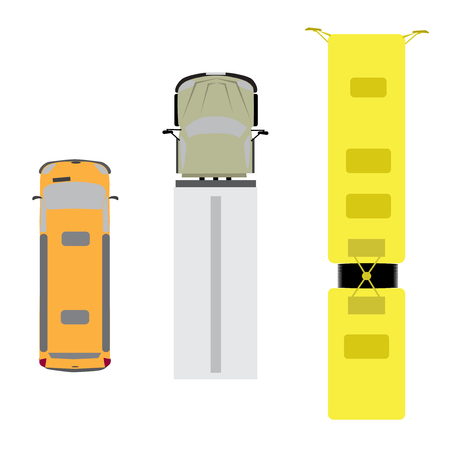 view from above: A set of three cars. Van, truck, bus. View from above. Vector illustration Illustration