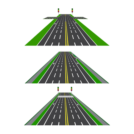 Set of different sections of the road with intersections, bike lanes, sidewalks and intersections. Perspective image. Vector illustration