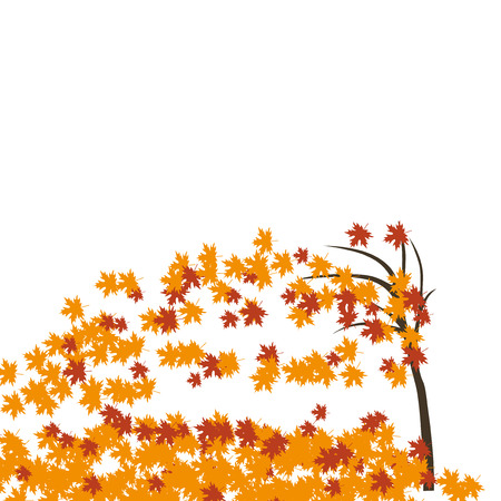 Maple tree in the wind, autumn. Fallen red and yellow leaves. Vector illustration Illustration