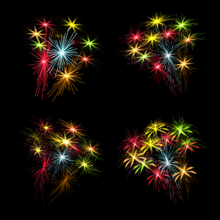 A set of colorful fireworks in honor of US Independence Day on a black background. Vector illustration. Illustration