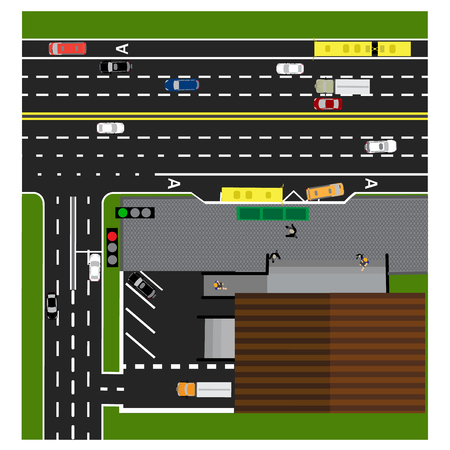 bus parking: Plot road, highway, street, with the store. Crossroads. Bus stop. With different cars. Congestion and parking cards. Top view of the highway. Vector illustration Illustration