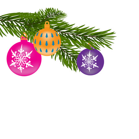 furtree: New Year or Christmas background. Fur-tree branch with multi-colored balls. Vector illustration