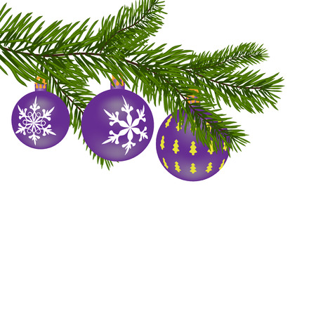 New Year or Christmas background. Firtree branch with purple balls with a pattern. Vector illustration
