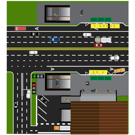 bus parking: Plot road, highway, street, with the store. Underground crossing. Crossroads. Bus stop. With different cars. Parking cards. Top view of the highway. Vector illustration Illustration