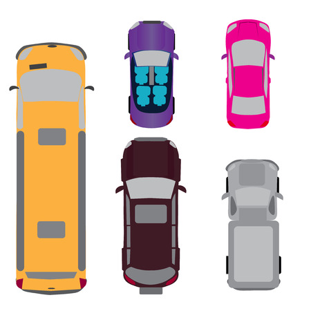 view from above: A set of five cars. Coupe, convertible, SUV, passenger van, minivan. View from above Vector illustration