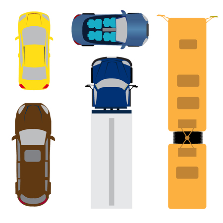 A set of five cars. Coupe, convertible, station wagon, cargo van, bus. View from above. Vector illustration