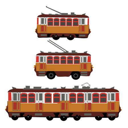 electric tram: Vintage tram, electric train, trolleybus. Retro. Detail view of the side of the electric transport. Tourist tram. Yellow tram, trolleybus, train. Vector illustration Illustration