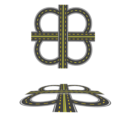 thoroughfare: Set the transport interchange. Highway with yellow markings. Top view and in perspective. Vector illustration