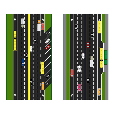 lanes: Highway Planning. roads, streets with parking and public transport. Images of various cars, lanes for public transport. View from above. Vector illustration