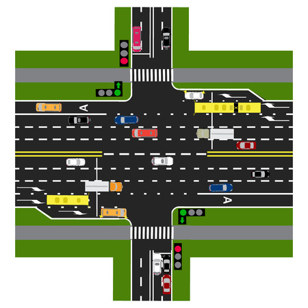 top down car: Road infographics. The highway intersects with the road. With the cars and traffic lights. Green signal to the main road. Loaded with road maps and public transport. Top view of the highway. Vector illustration Illustration