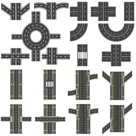 thoroughfare: Set of different sections of the road with roundabouts, junctions, bends and various intersections. series depicts the sidewalks, marked bicycle lanes. Top view and perspective. Vector illustration