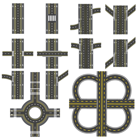 turns: Set of different road sections with a circular dvizheniemi isolation. Transitions, turns and various intersections. series depicts the sidewalks, marked bicycle lanes. View from above. Vector illustration