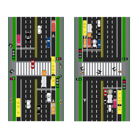 transition: Highway Planning. roads, streets and traffic lights with the transition. Image sidewalks, transition lanes for public transport. View from above. Vector illustration Illustration
