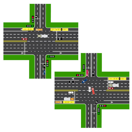 lanes: Junction Highway. roads, streets. The movement is regulated by traffic lights. Images of various cars, lanes for public transport. View from above. Vector illustration