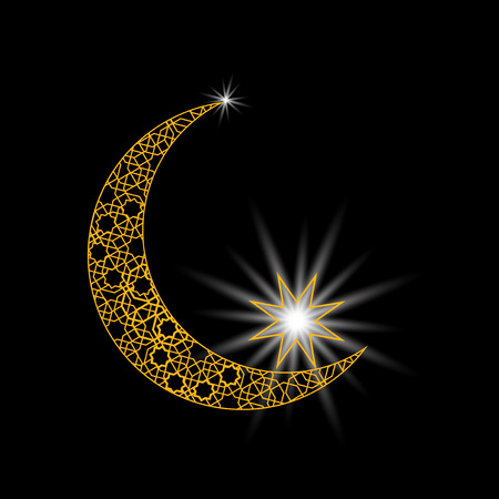 moon shadow: Stylized month with a star. Ornament in east style. Symbol. Vector illustration
