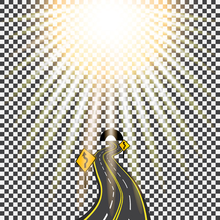 tarmac: Highway receding into the distance in the tunnel. Bending road. Bright sunlight. Vector illustration.